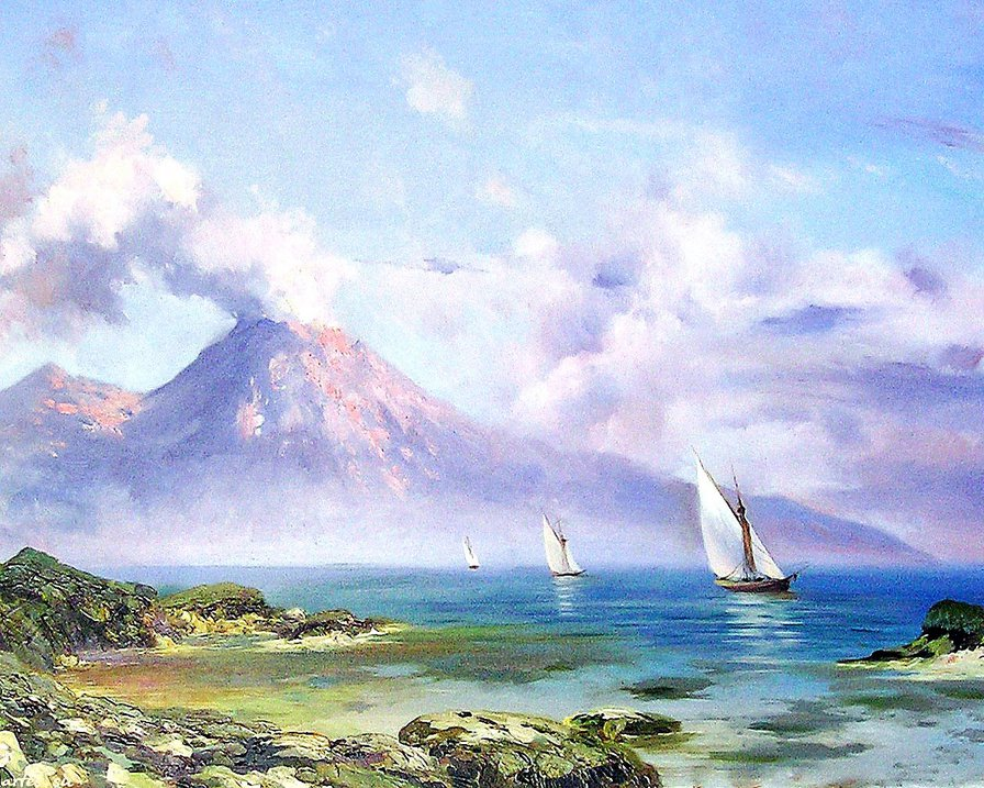 парусники и вулкан, оригинал