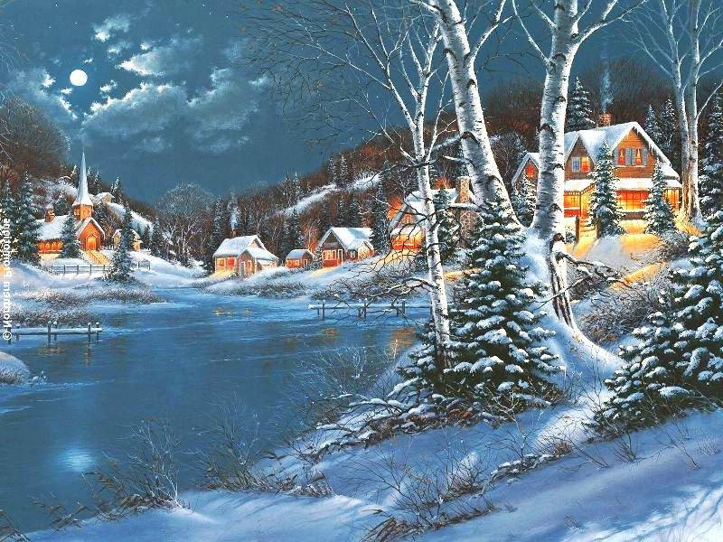 лунная зимняя ночь в деревне,