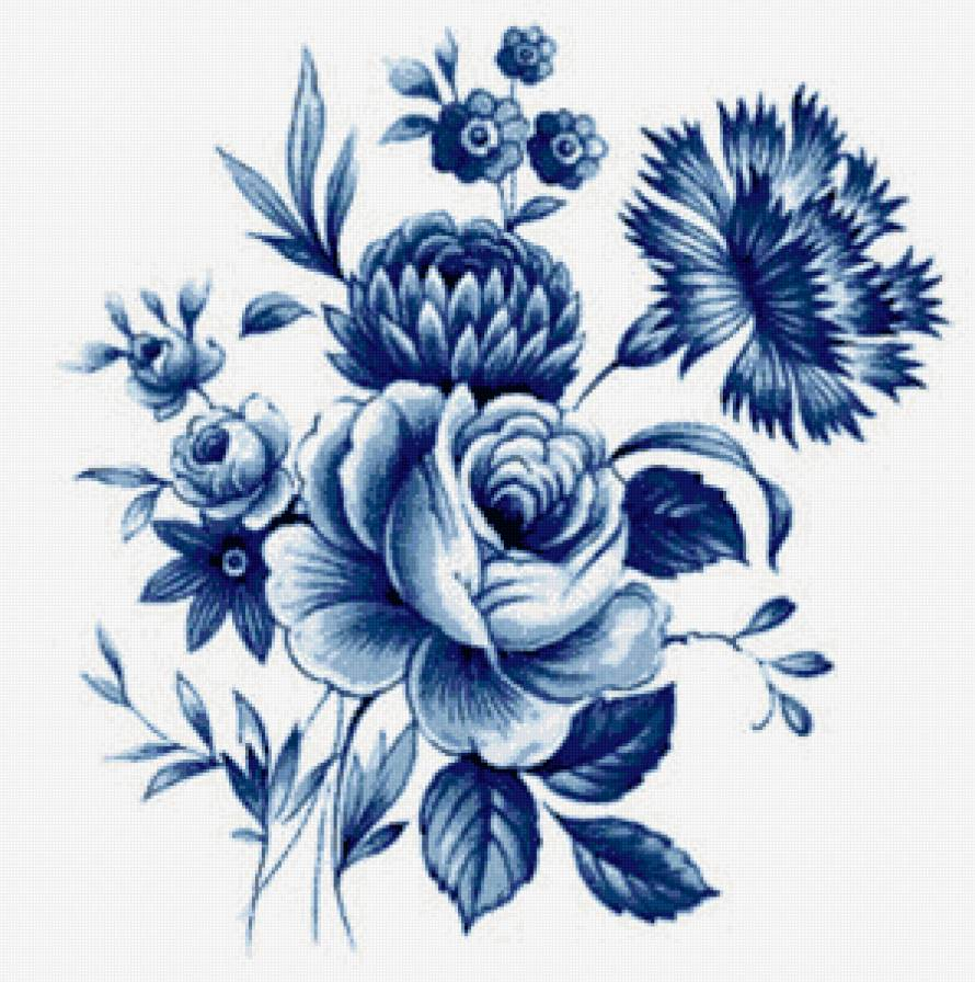 Цветы гжель