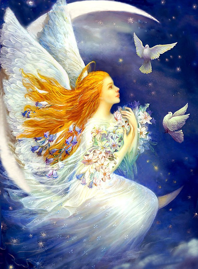 девушка ангел с голубями,