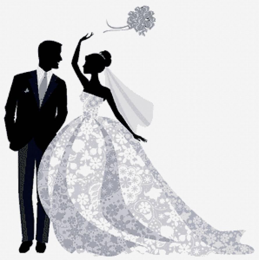 Схема вышивки крестом монохром свадьба