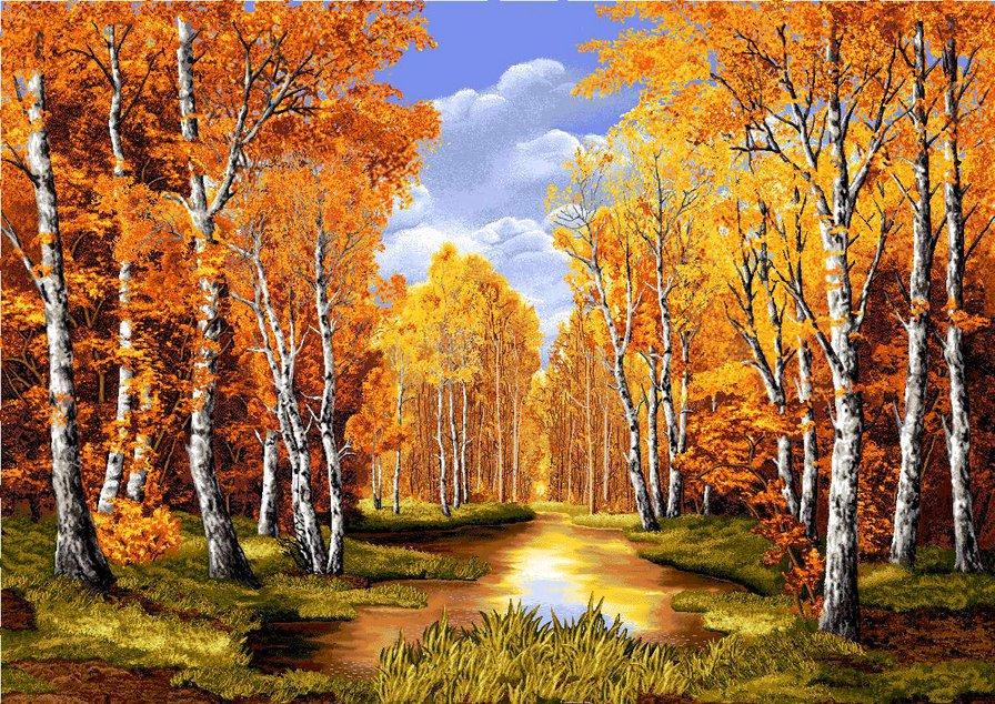 золотая осень в березовой роще
