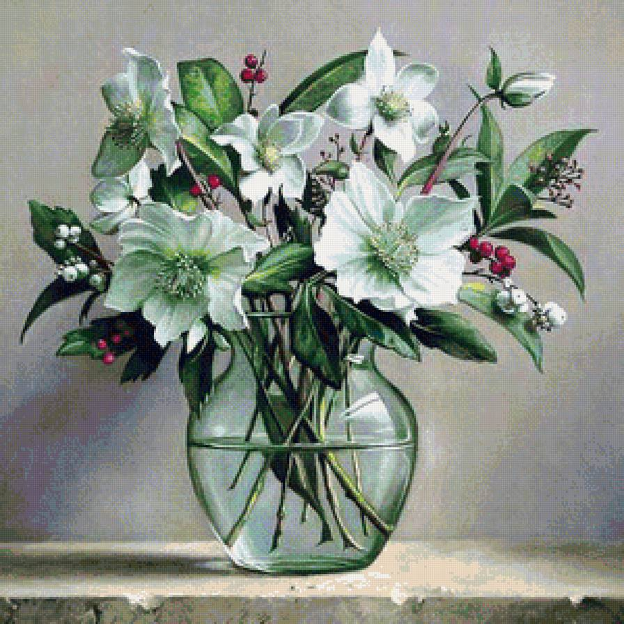 схема вышивки крестом белые цветы